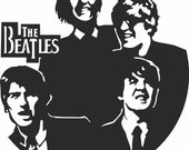 The Beatles Wall clock. Vector file for laser cutting CNC. Wooden designer. DXF CDR vector plan. Instant download.