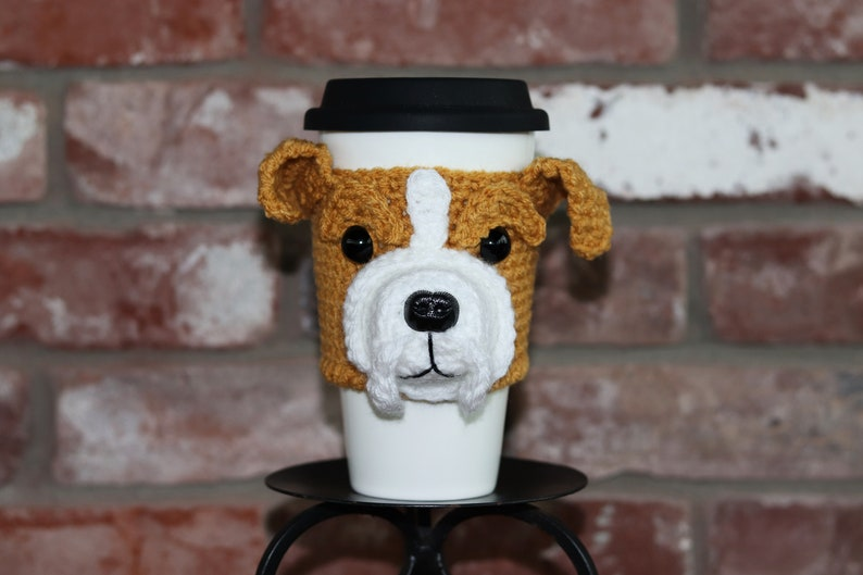 Bulldog Cup Cozy dog coffee cozy wine holder mug wrap image 0