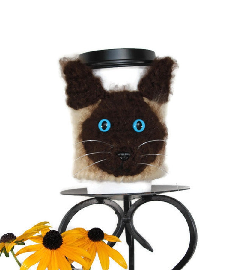 Siamese Cat Cup Cozy Cat coffee cozy Cat Cup Sleeve mug image 0