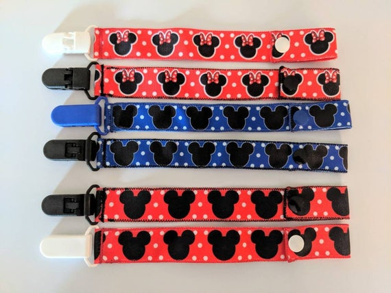 NEW! Disney Grey And Red Mickey Mouse Handmade Baby Dummy Clips
