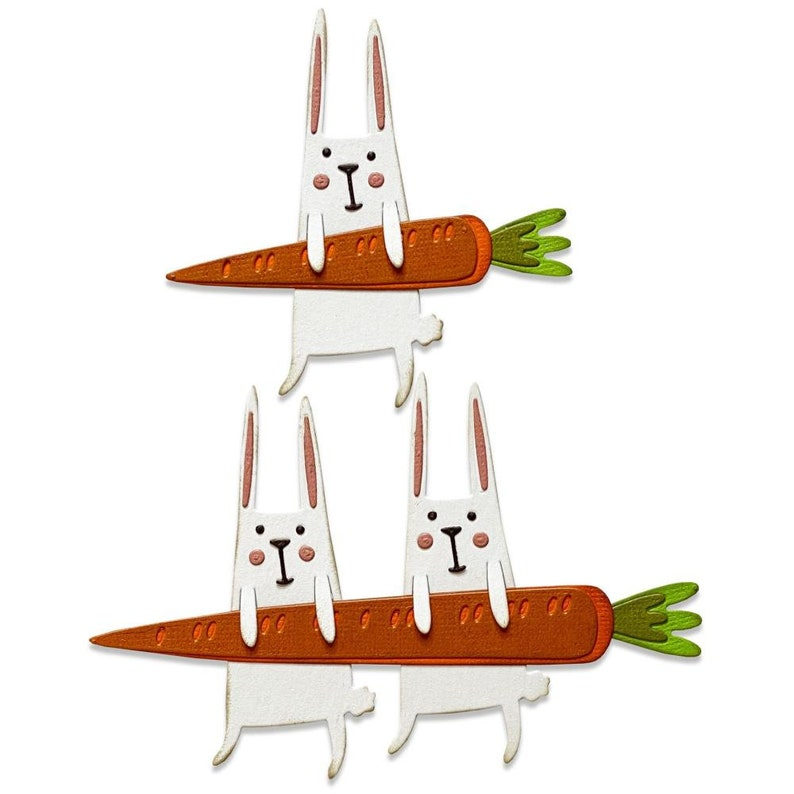 PRE-ORDER 665213 11pk Tim Holtz Carrot Bunny Thinlits Die Set Easter Rabbit Spring Sizzix Chapter 1