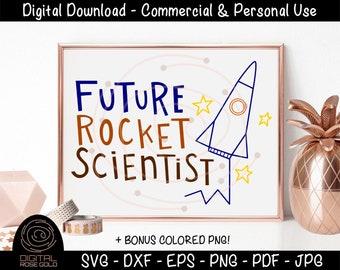 Future Rocket Scientist - Kids Space SVG, Rocket Ship Stars Moon SVG, Astronaut Design, Boys Girls Bedroom Decor, Personal & Commercial Use