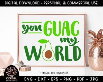 You Guac My World - Avocado SVG, Funny Vegetable SVG, Avocado Guacamole Design, Keto SVG, Funny Cute Food Shirt, Healthy Vegetable Printable