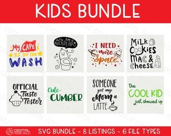 Kids Bundle - SVG BUNDLE - Childrens SVG Digital Designs, Kids Birthday, Picky Eater, Toddler Child SVGs, Personal & Commercial Use