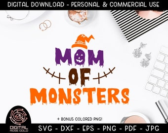 Mom of Monsters - Funny Halloween SVG, Creepy Scary Ghost Goblin Design, Halloween Costume Design for Moms, Holiday Mother SVG, Broomstick