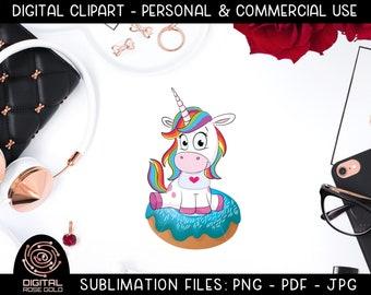 Unicorn Donut - Unicorn Sublimation File, Rainbow Unicorn Donut Party Design, Funny Doughnut Food Graphics Clipart, Birthday Party Printable