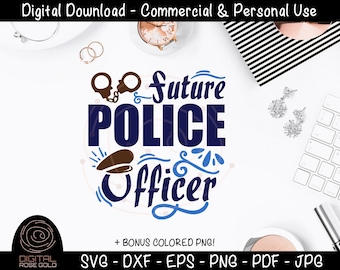 Future Police Officer - Police SVG, Thin Blue Line SVG, Son Daughter of Policeman Policewoman, Law Enforcement Fire Department 911 SVG File