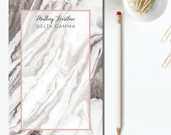 c5ad7a98 Sorority Notepad, Delta Gamma Stationery, Delta Gamma Notepad, Name  Sorority Notepad, Personalized Sorority Notepad, Marble Collection