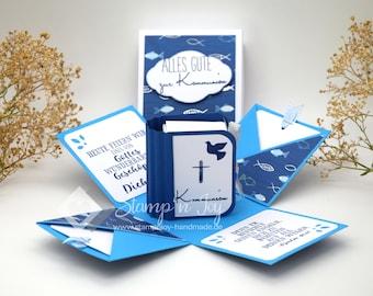 Explosion Box Communion/Confirmation/Confirmation/Baptism | Money Gift | Book box | Motive: Pisces | blue white | Article. No. 04020501-2