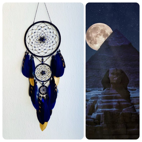 Personal gift boy and father thanksgiving, black dreamcatcher with blue color added, bedroom wall decor, Christmas and New Year family gift