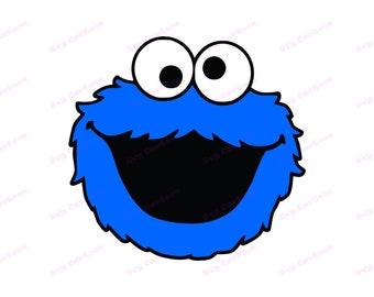 Face Cookie Monster SVG, svg, dxf, Cricut, Silhouette Cut File, Instant Download