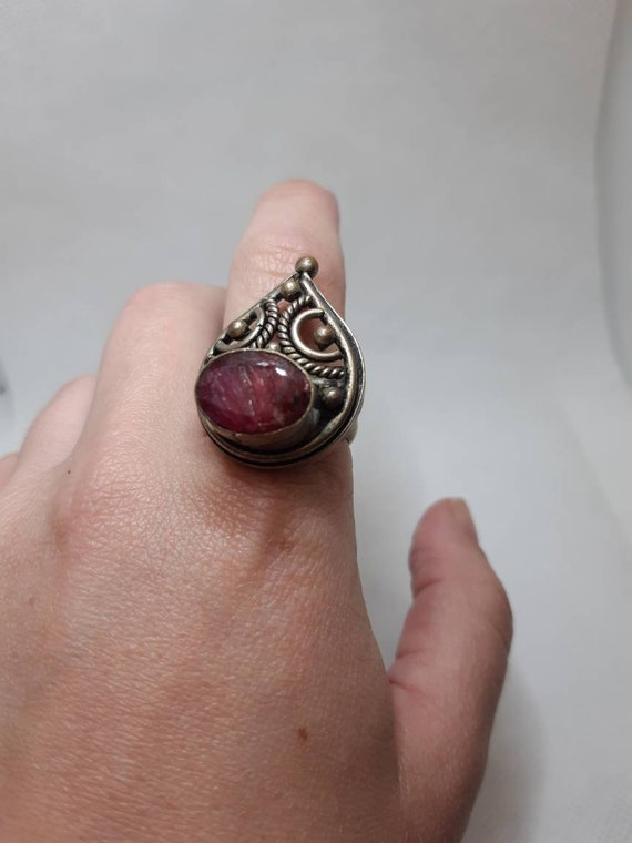 Old Silver Ring,Raw Ruby Ring,Large size silver ri