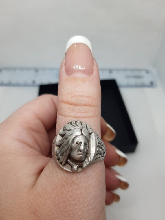 Rare OLd Antique sterling Ring,Indian head silver