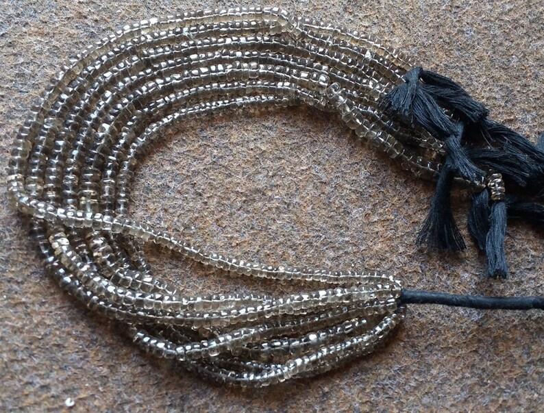 Quartz Beads Gemstone Quartz Beads long strand Natural Smoky Quartz Tyre Shape 5mm Plain Gemstone Beads Smooth 13 Inch Strand Smoky Beads