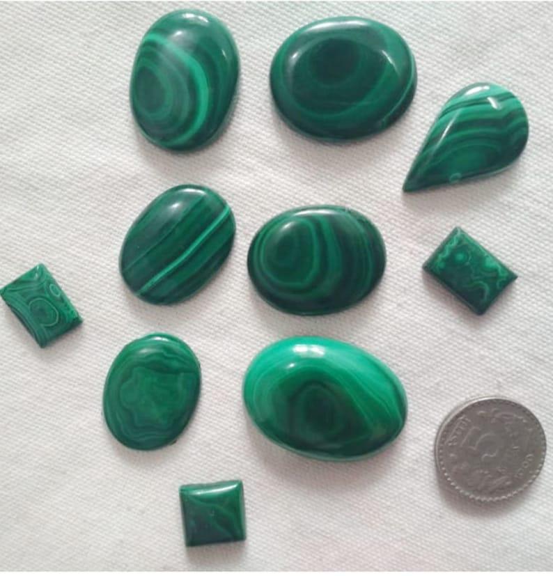 Malachite Gemstone Lot 10 Pcs Malachite Loose Stone Natural Handmade 335 Cts approx Natural Malachite Cabochons