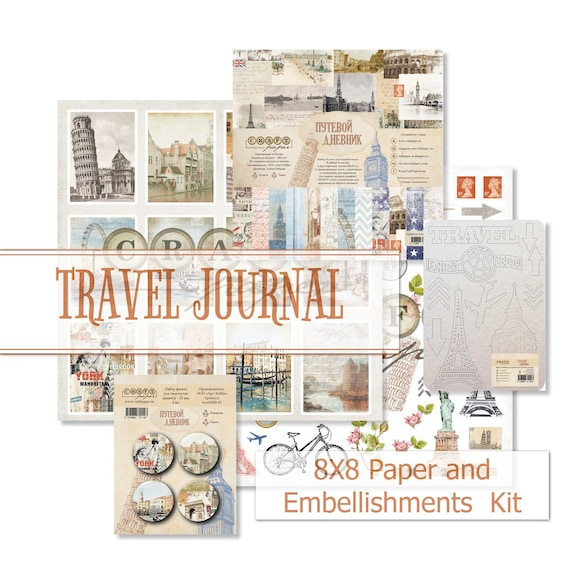 Double Sided Cardstock for Scrapbooking Cardmaking Travelbooks Travel Journal 8x8 Marine Sea CraftPaper Kit