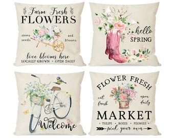 Flower Market Pillow Etsy