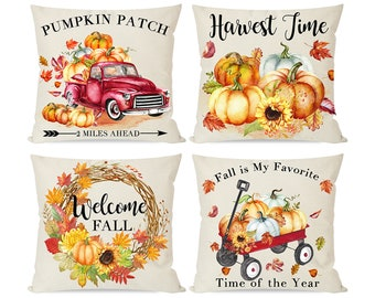 Set of 4 Fall Pillow Covers 18x18, Autumn Thanksgiving Decor Throw Pillow Cases for Home Outdoor Couch Sofa, Red Truck Wagon Pumpkin Patch