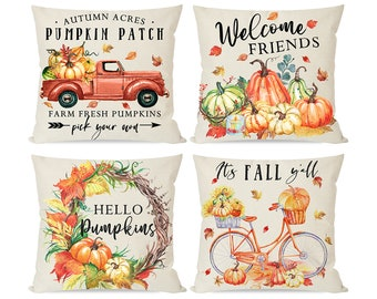 Set of 4 Fall Pillow Covers 18x18, Autumn Thanksgiving Decor Throw Pillow Cases for Home Outdoor Couch Sofa, Orange Truck Bike Pumpkin Patch