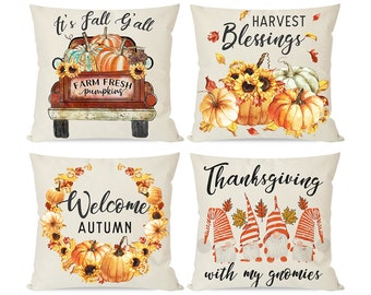 Fall Pillow Covers 18x18 Set of 4,Autumn Thanksgiving Throw Pillow Cases,  Rustic Truck Orange Gnomes Pumpkin, Home Outdoor Couch Sofa Deocr
