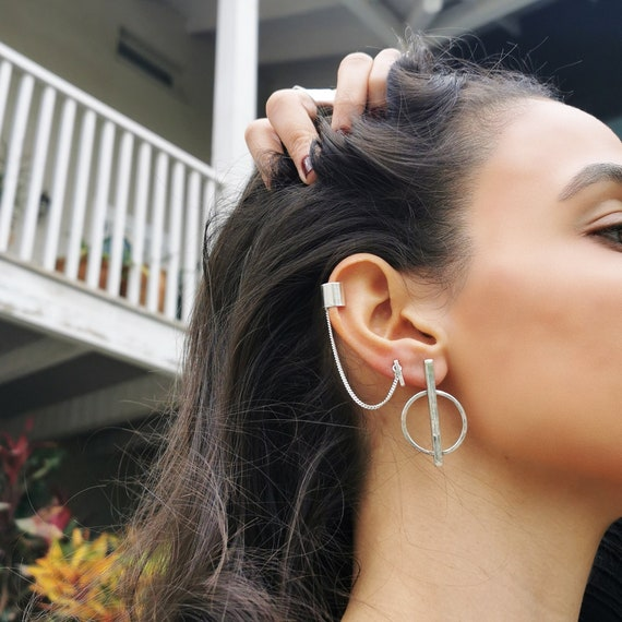 One Rectangle and stripe sterling silver earring Single Edgy unisex geometric; Dangle /& Drop; avant garde; modern minimalist hand made;