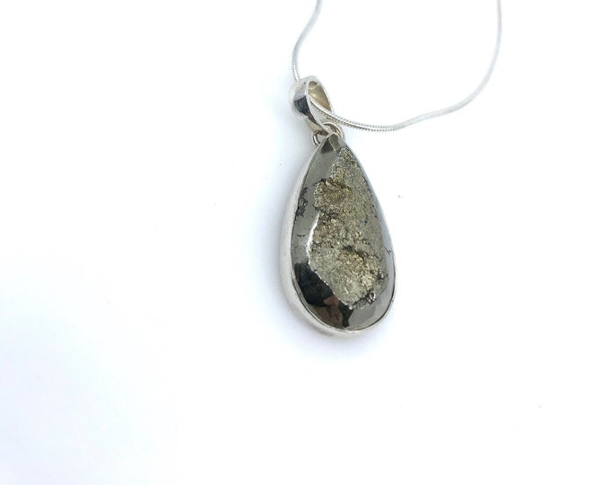 """20"""" Pyrite sterling silver necklace  pyrite meaning protection crystal  healing necklace  Pyrite pendant raw pyrite, pyrite jewelry"""