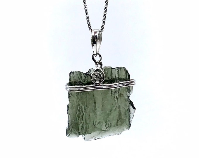 """REAL Moldavite sterling silver 18"""" necklace Fine jewelry Crystal jewelry One of a kind Holy Grail stone Russian stone Gift for her"""