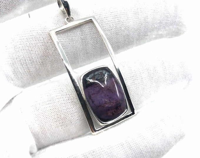 Sugilite silver pendant rectangle pendant unique pendant sugilite jewelry sugilite pendant beautiful pendant,one of a kind,beautiful gift