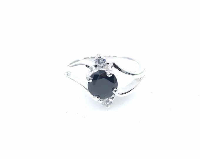 Black quartz size 6 silver ring size6 fine jewelry black quartz jewelry promise ring engagement ring,silver ring,crystal ring,cubic zirconia