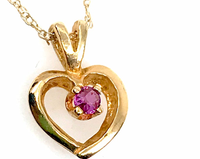 "Gold heart Pink 14 Karat Saphire pendant on 18"" gold chain  Pink Saphire 14kt Gold nexklace Saphire necklace Heart and saphire Gift for mom"