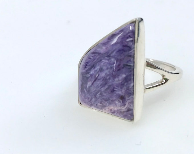 Size 8 Charoite ring silver ring fine jewelry charoite stone purple crystal charoite meaning,crystal healing ring,reiki stone,one of a kind