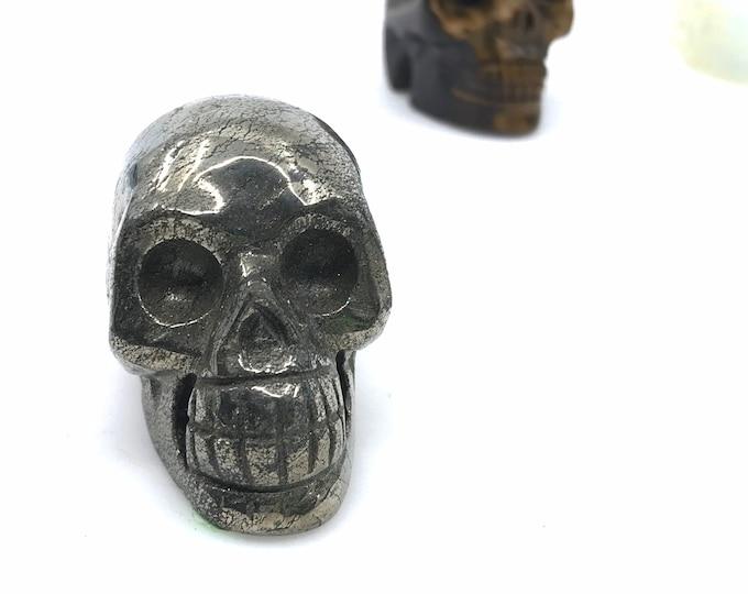 Pyrite skull Crystal skull Skull meditation Skulls sculpture Meaning of skulls Reiki tool Wiccan crystal Biker gift Pyrite quartz