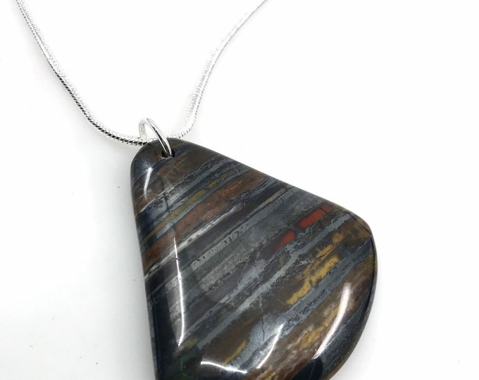 Tiger Iron Pendant necklace Healing crystals Tiger eye Tiger Iron Jewelry tiger iron stone healing gemstone handmade one of a kind