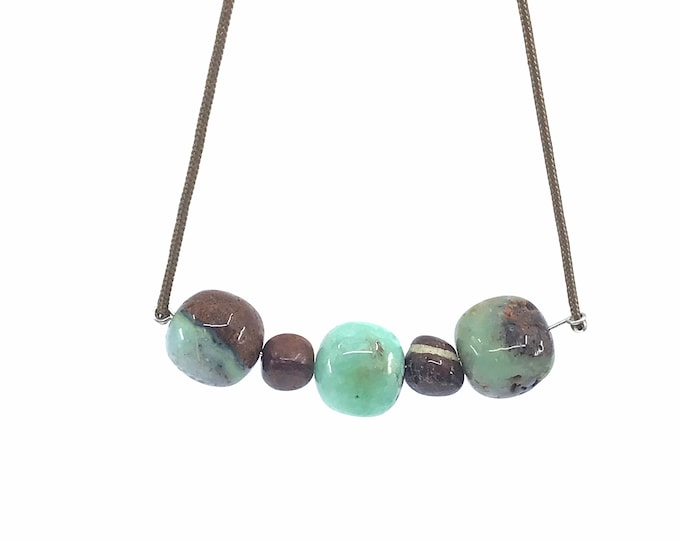 "Chrysoprase 21"" rope necklace chrysoprase stone chrysoprase healing casual necklace freeform beads handmade necklace,one of a kind"