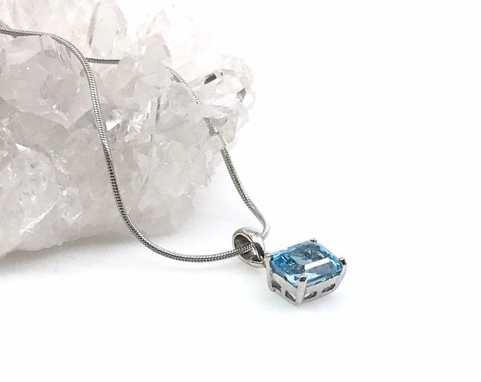 Blue topaz 925 sterling silver pendant Fine jewelry Natural stone Birthstone pendant Crystal necklace Healing necklace Gift for her