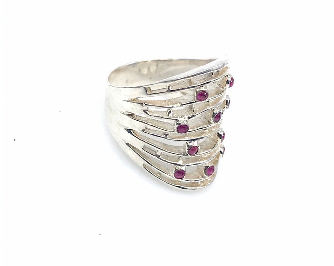 Pink tourmaline size 7 ring 925 sterling silver  fine jewelry  statement ring  gift for her  , ring for her, contemporary ring,elegant ring.
