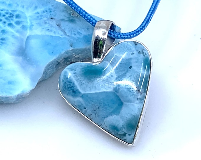 Beautiful patterns Heart Larimar sterling silver pendant  Dominican larimar larimar jewelry  larimar necklace    larimar pendant
