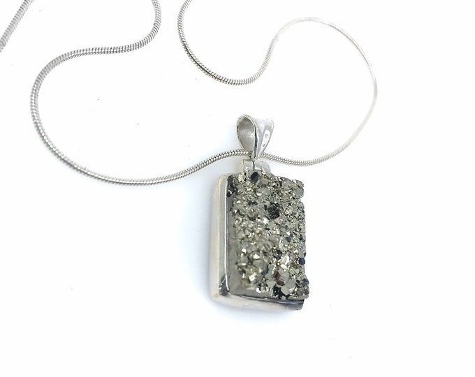 Pyrite pendant on 925 Sterling Silver AAA quality pyrite jewelry protection stone fools gold money stone,crystal for success,dainty jewelry,