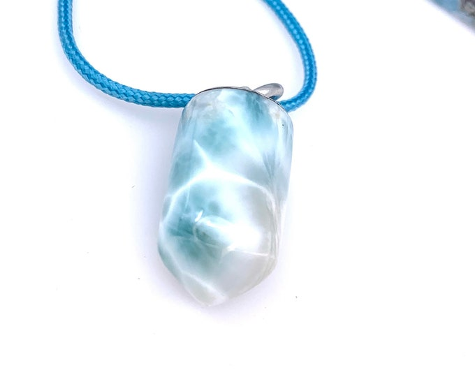 Special Larimar silver necklace Larimar gifts Dominican Stone 925 silver larimar crystal, larimar meaning, healing crystals Handmade jewelry