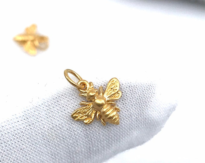 24kt Gold Bees CUTE Dainty 24kt heavy gold plated over silver honey bees Bee jewelry Gold pendant Gold necklace Bee pendant Bee Gold jewelry