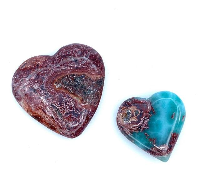 Gorgeous pair Red Blue Larimar Hearts larimar jewelry larimar meaning larimar gift larimar pendant, larimar necklace, cabs Larimar hearts