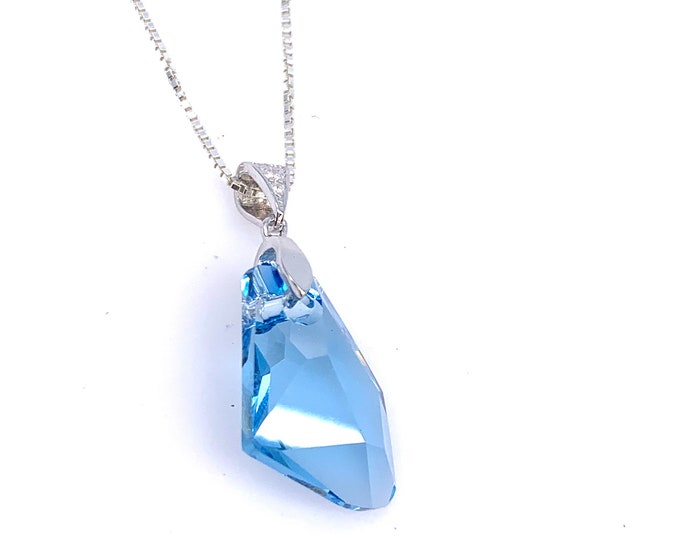 Dainty Blue Swarovski crystal silver pendant necklace blue pendant Fine jewelry crystal pendant crystal meaning Crystal jewelry