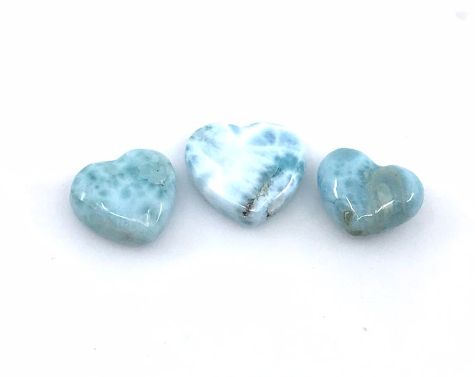 3 AAA puffy 2-sided quality Larimar heart cabochons. Dominican larimar crystal hearts Beautiful dainty hearts Jewelry making Crystal gifts
