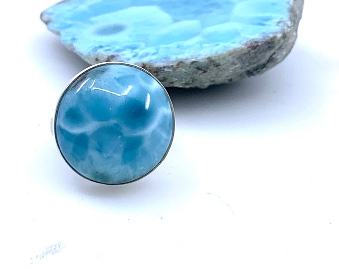 Size 8.5 Larimar ring Larimar Ring Quality Jewelry Healing Crystals 925 silver Larimar gemstone Larimar stone Larimar crystal Gift for mom
