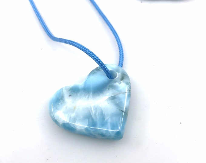 Large Larimar Heart necklace, larimar jewelry larimar meaning larimar gift larimar pendant, larimar necklace, larimar cabs