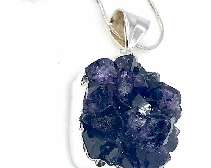 Exceptional Amethyst rough pendant sterling silver jewelry amethyst meaning amethyst jewelry purple pendant metaphysical jewelry.