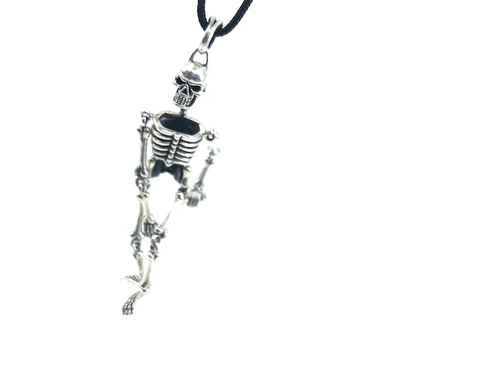Sterling silver skeleton adjustable necklace  skeleton jewelry skeleton necklace  silver skeleton  unique necklace  halloween jewelry,