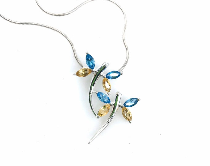 Cute dragon fly sterling silver pendant with blue topaz and citrine crystals One of a kind pendant Dragon fly Crystal pendant  Fine jewelry