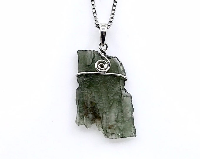 """REAL Moldavite sterling silver 20"""" necklace Lobster claw clasp Fine jewelry Crystal jewelry One of a kind Holy Grail stone Russian stone"""