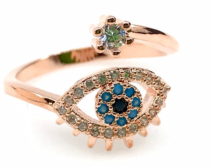 Evil eye rose gold ring size 7 fine jewelry protection ring evil eye rose gold ring,rose gold, healing crystals